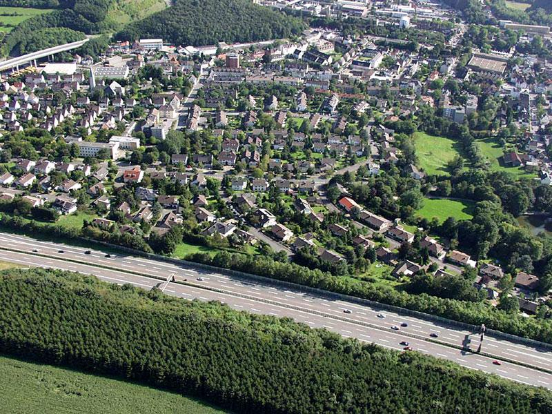 Luftbildaufnahme Dichterviertel: Stifter-, Mörike- und Eichendorffweg - Oestrich