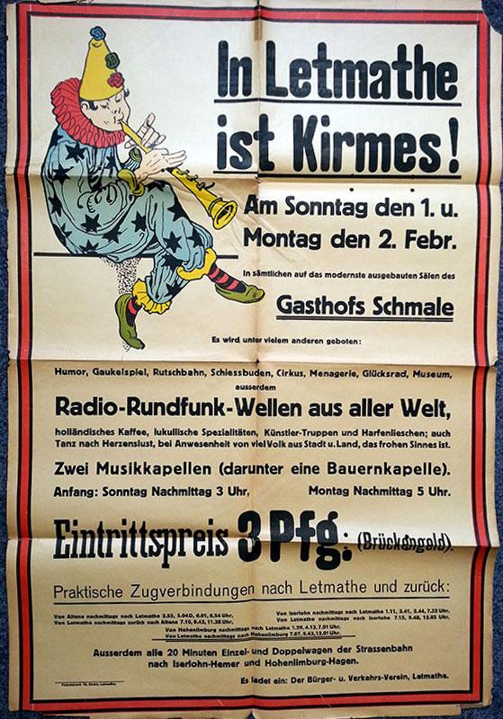Einladung zur Saalkirmes aus dem Jahr 1925. Der Bürger- und Verkehrsverein veranstaltete die Saalkirmes zur Finanzierung des Volksgartens.
