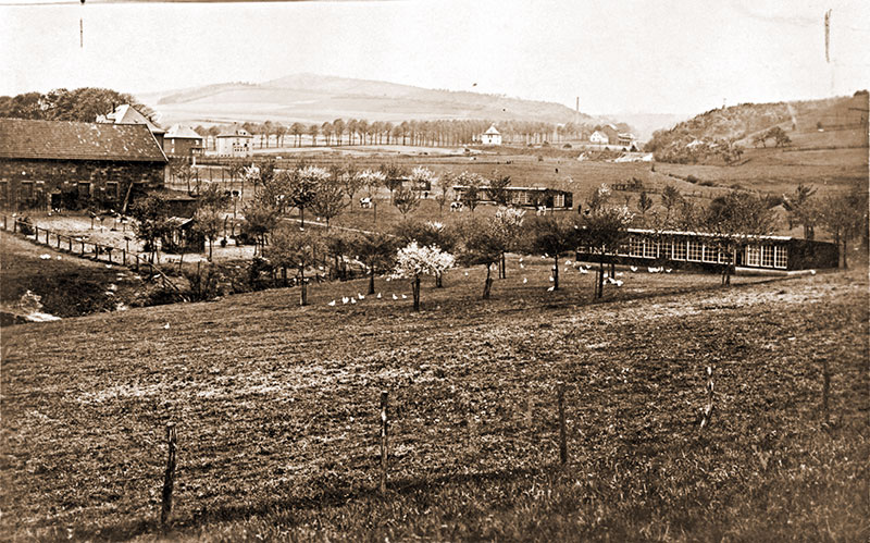 Das noch freie Grundstück auf der fürstlichen Klusenwiese nördlich des Hofes von Bauer Hunke im Frühjahr 1930.