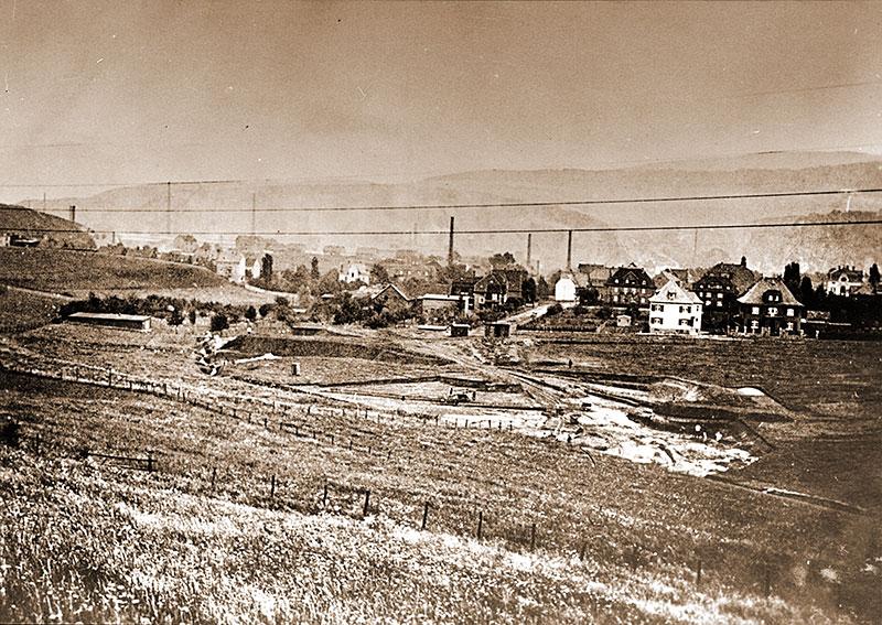 Die ersten Arbeiten zur Anlage des Volkgartens im Jahr 1933. Blick von