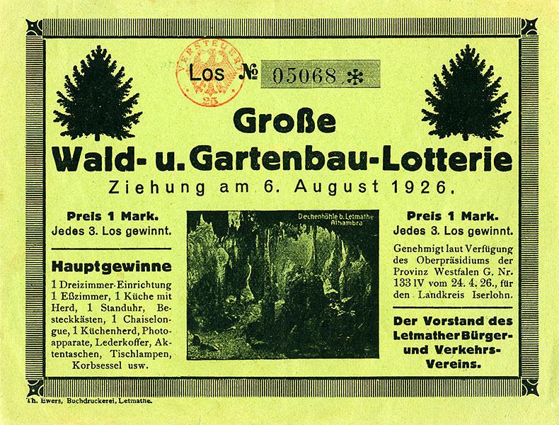 Los der Wald- und Gartenbau-Lotterie zur Finanzierung des Volksgartens aus dem Jahr 1926.